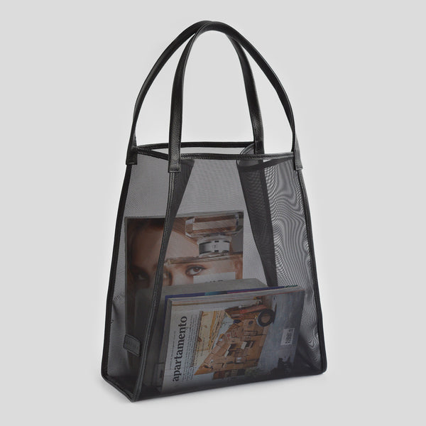 See through black shopping bag