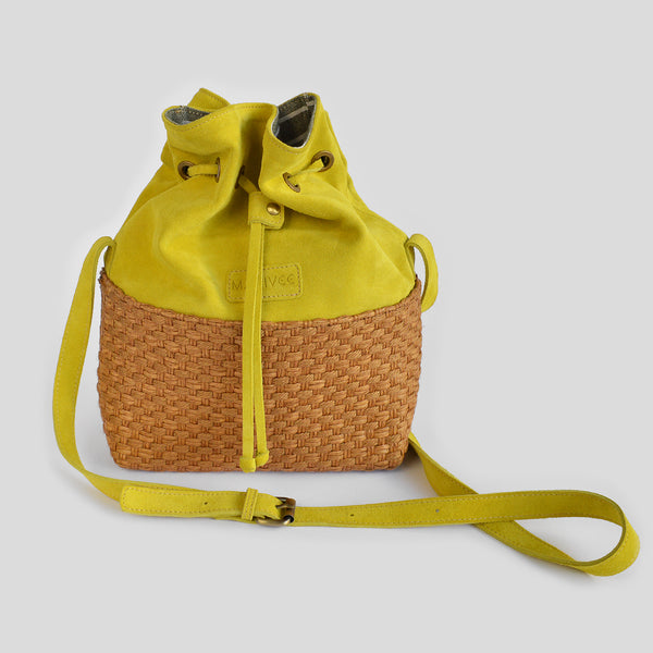 "The ""Parsons"" suede Pouch Bag in yellow"