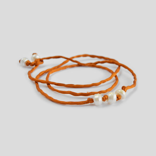 "The ""Silk Pearls""Bracelet in pumpkin"