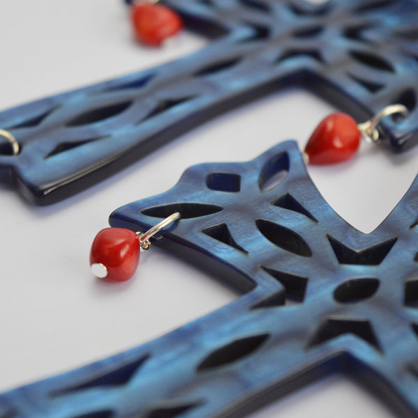 "The ""Temple Cross"" earrings in sky blue"