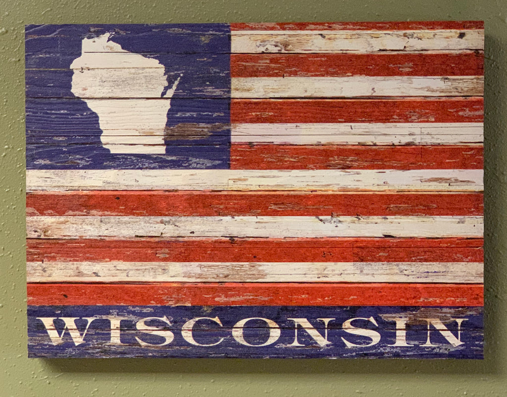 Wisconsin American Flag Sign