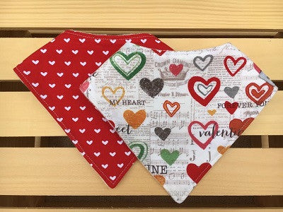 Heart & Love Bandana Drool Bib Set