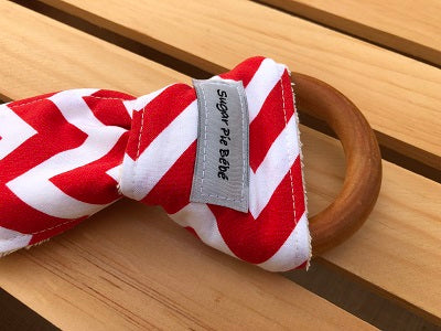Red Chevron Wooden Teething Ring