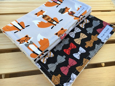 Fox & Bow Tie Burp Cloth Set