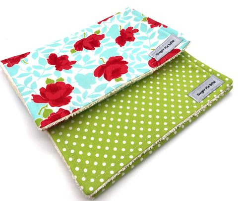 Flowers & Polka Dots Burp Cloth Set
