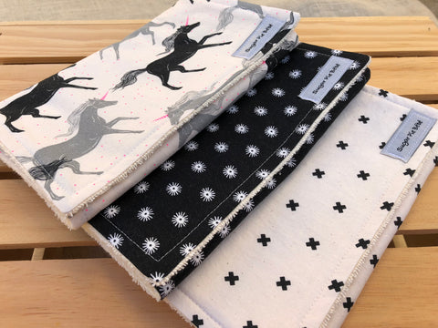 Magic Forest ( Black & Tan ) Burp Cloth Set