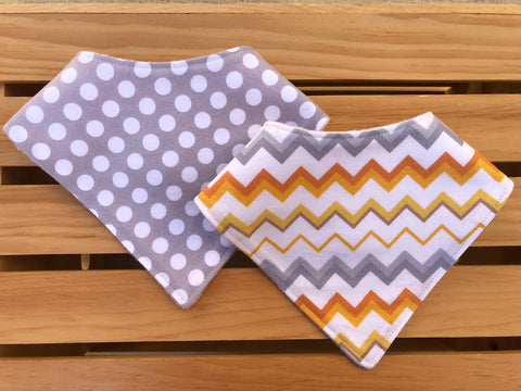 Dots & Chevron Bandana Drool Bib Set