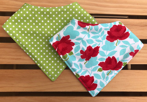 Flowers & Polka Dots Bandana Drool Bib Set