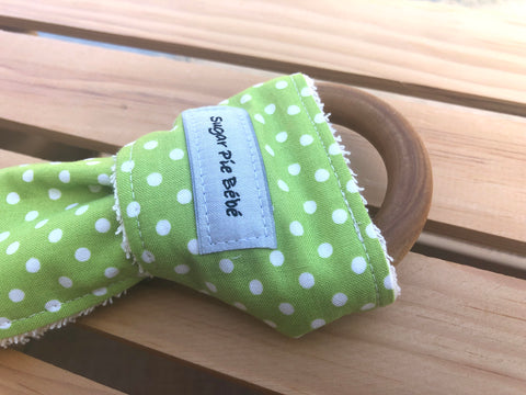 Green Polka Dot Wooden Teething Ring