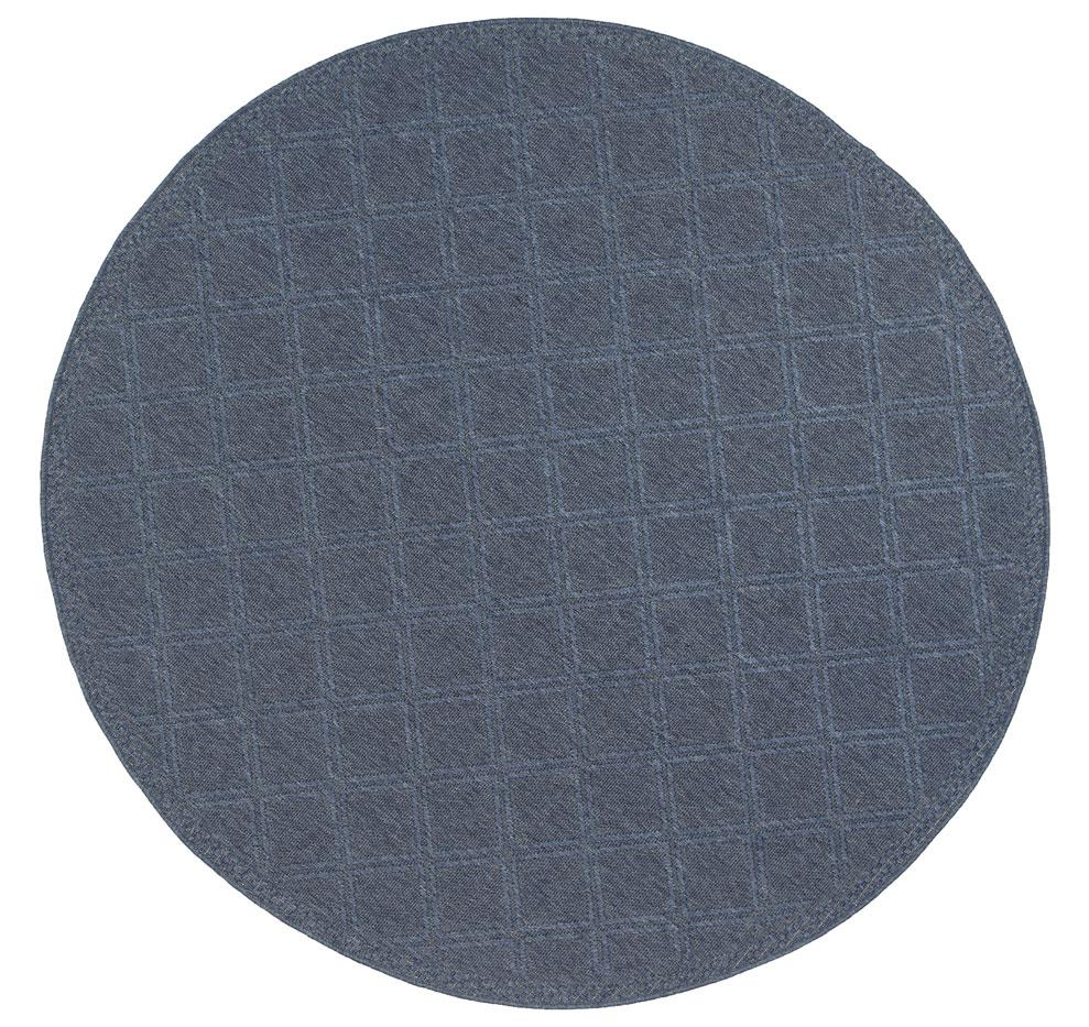 Sienna Navy Blue Diamond Indoor Outdoor Rug Round