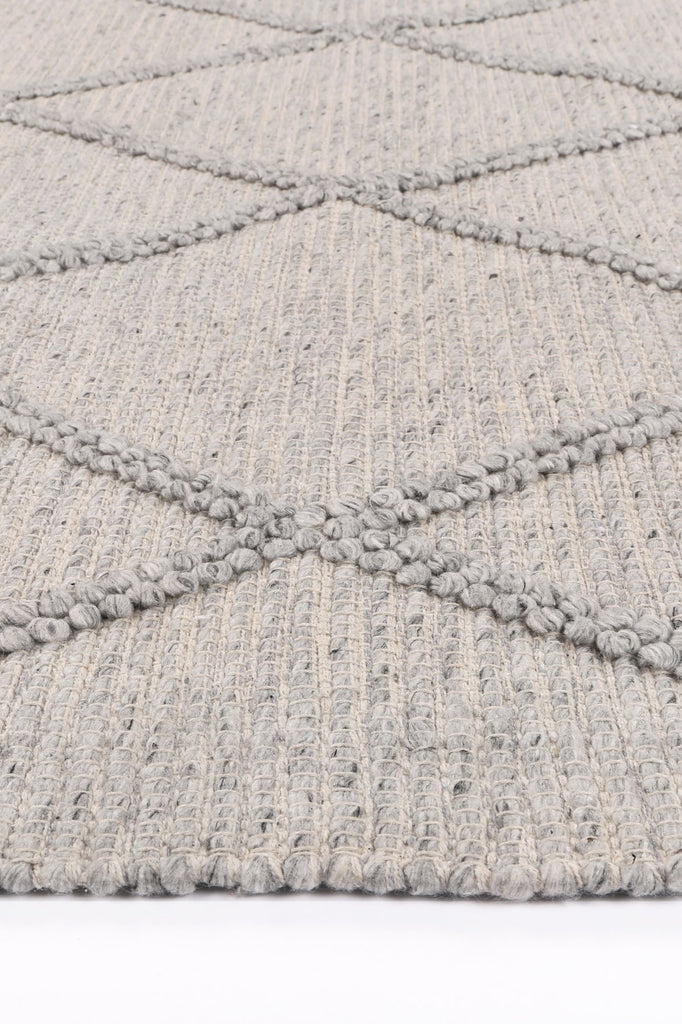 Gaza Diamond Braided Grey Rug