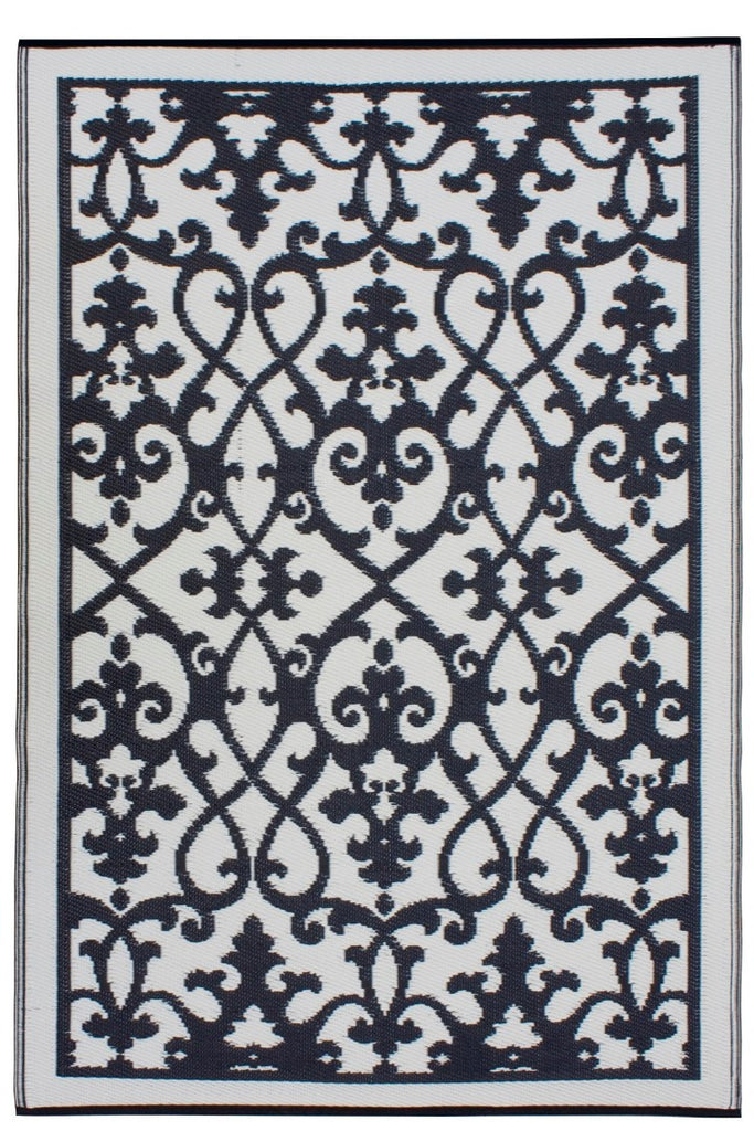 Fab Plastic Picnic Beach Mat Indoor Outdoor Rug Venice Black