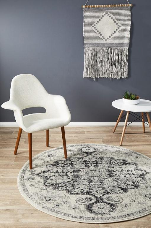 Muse 860 Transitional Charcoal Grey Cream Round Rug