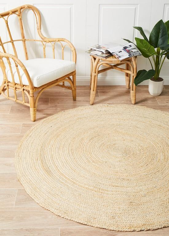 Rugs - Alison Round Polo Bleached Jute Organic Rug