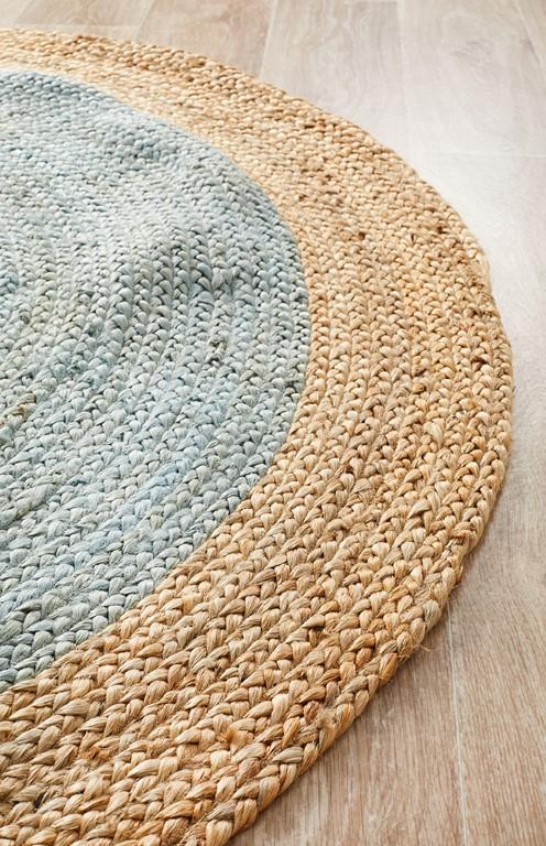 Rugs - Alison Round Polo Blue Jute Organic Rug