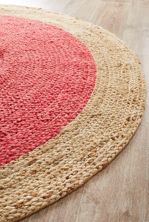 Rugs - Alison Round Polo Cherry Red Jute Organic Rug
