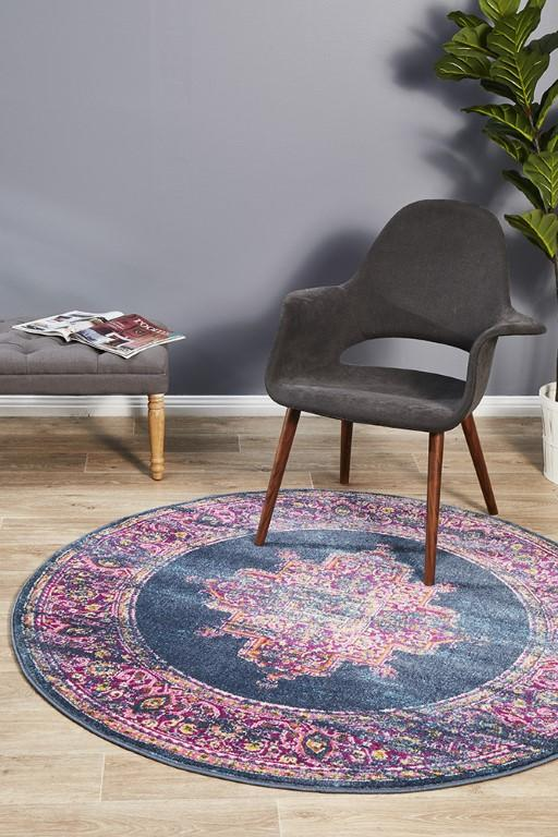 Rugs - Babil 211 Navy  Round Rug