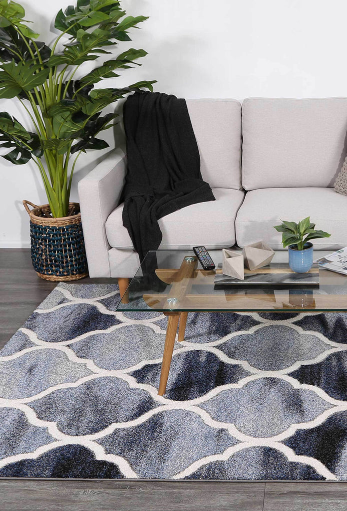 Rugs - Chella Lattice Blue Grey Rug