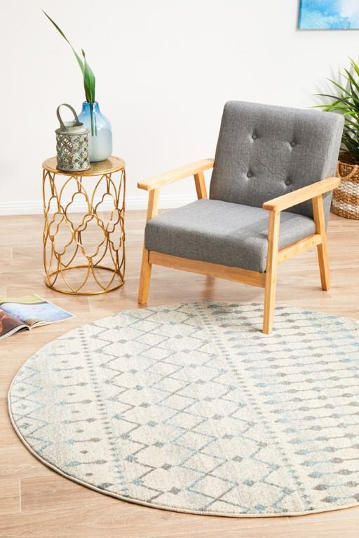 Rugs - Eliza 260 White Cream Grey Round Modern Rug