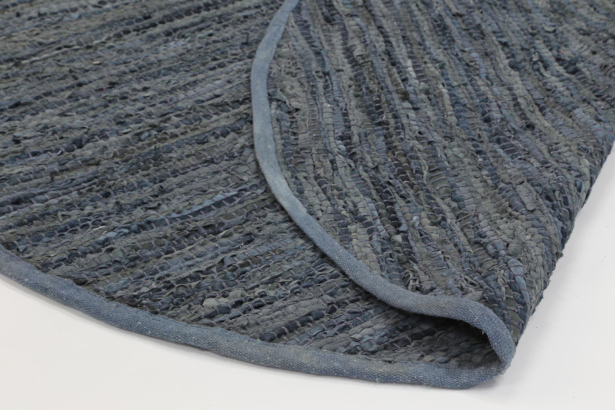 Gaya Modern Grey Leather Rug Round Rugtastic