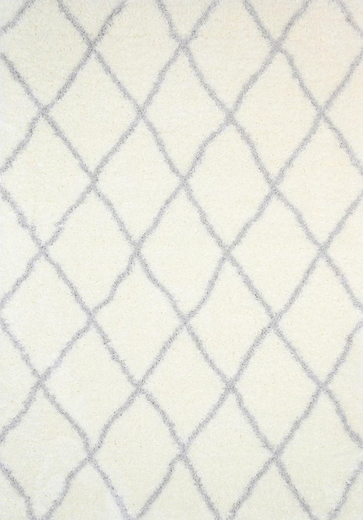 Rugs - Moro Shaggy Diamond Rug Cream Silver