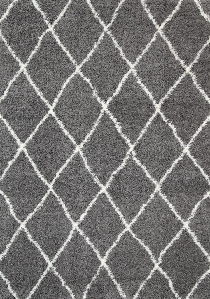 Rugs - Moro Shaggy Diamond Rug  Grey Cream