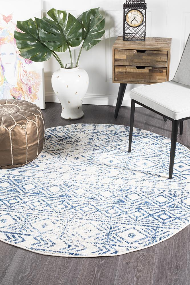 Rugs - Oakley White Blue Rustic Round Rug