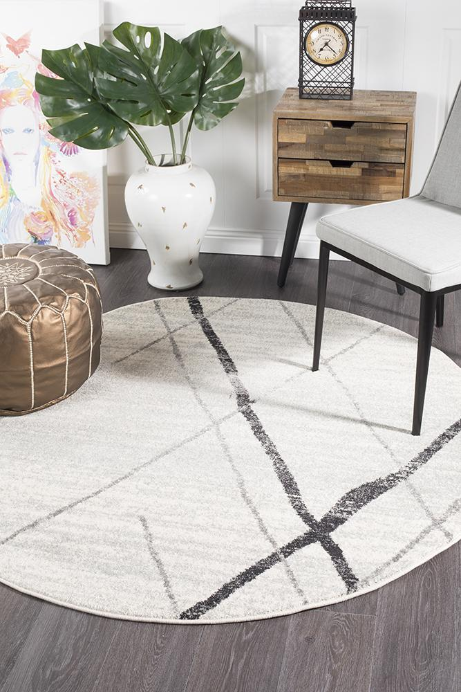 Rugs - Oakley White Grey Contemporary Round Rug