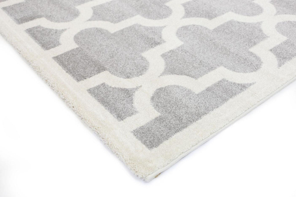 Rugs - Pica Lattice Pattern Grey White