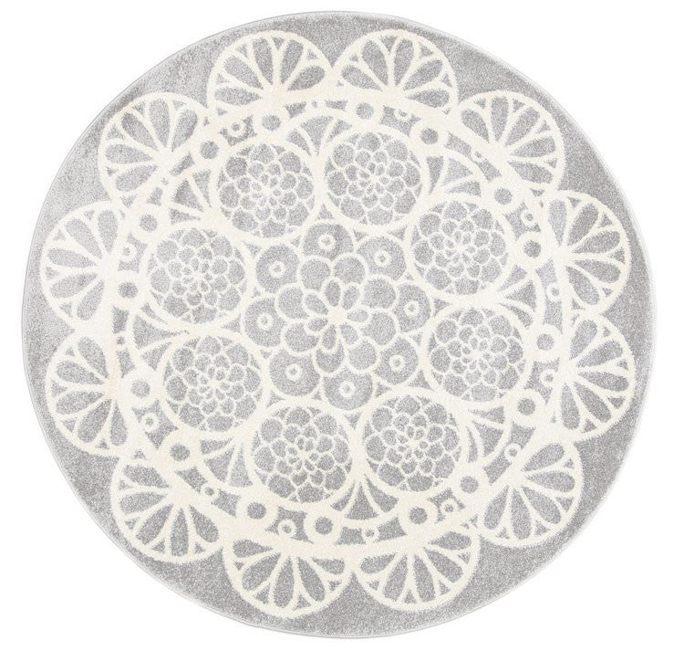 Rugs - Pica Round 133cm Doily Grey White 1592695