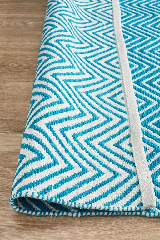 Rugs - Spark Chevron Turquoise Cotton Flatweave Rug