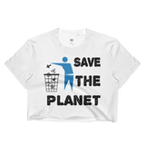 Save the Planet, Please place religion in trash ladies crop top.