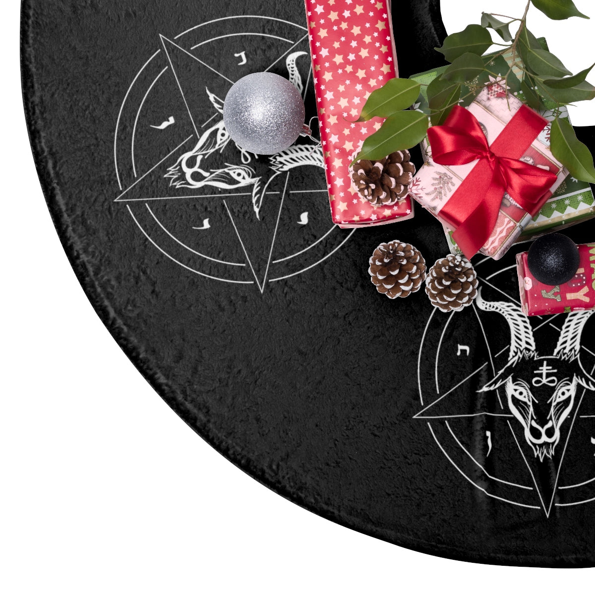Fuzzy Satanic Baphomet Christmas Tree Skirt