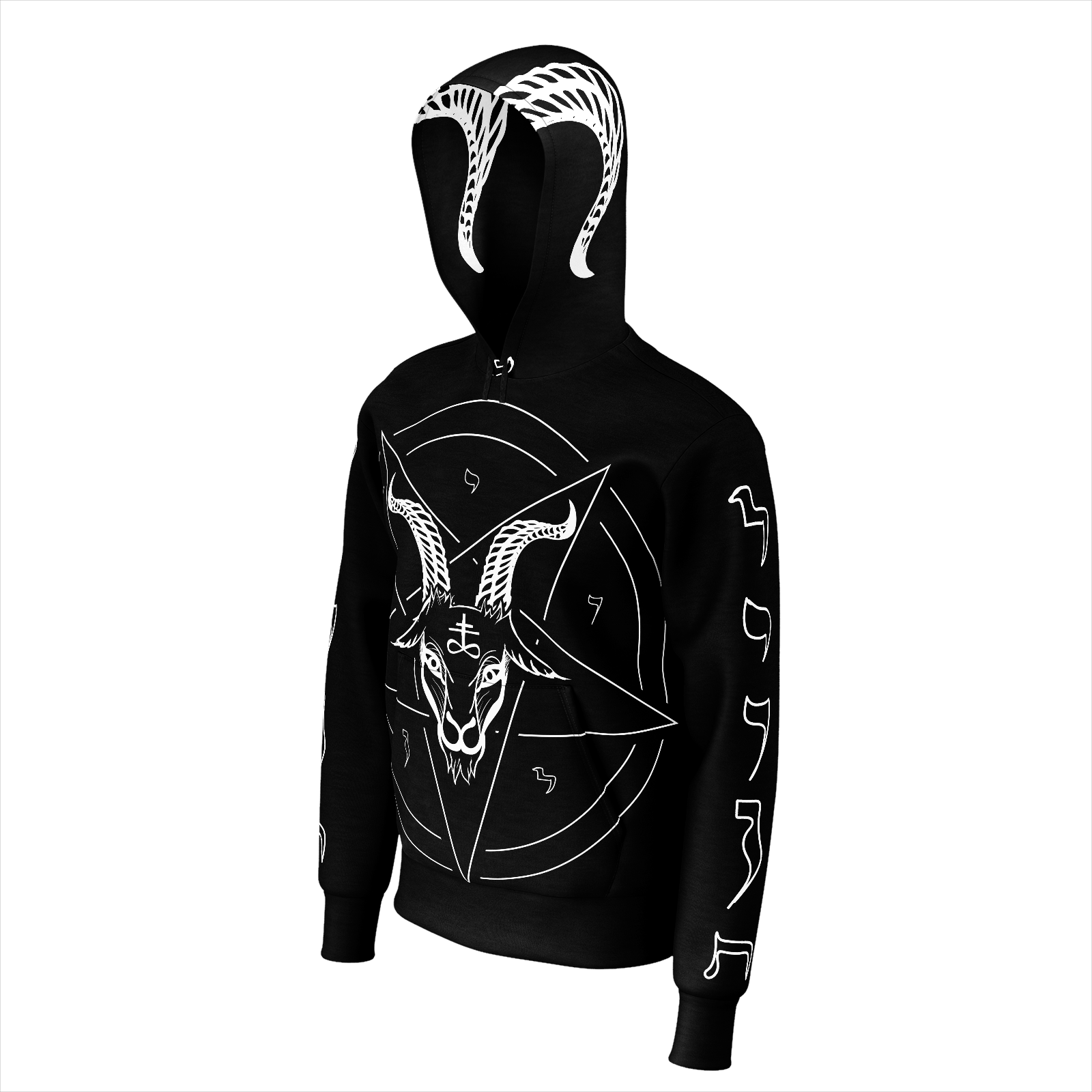 Baphomet Pentagram Sigil of Lucifer Satanic Symbols Hoodie with Horns - Logikal Threads