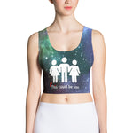Galaxy Print Poly Fidelis Triad Crop Top Tank - Logikal Threads
