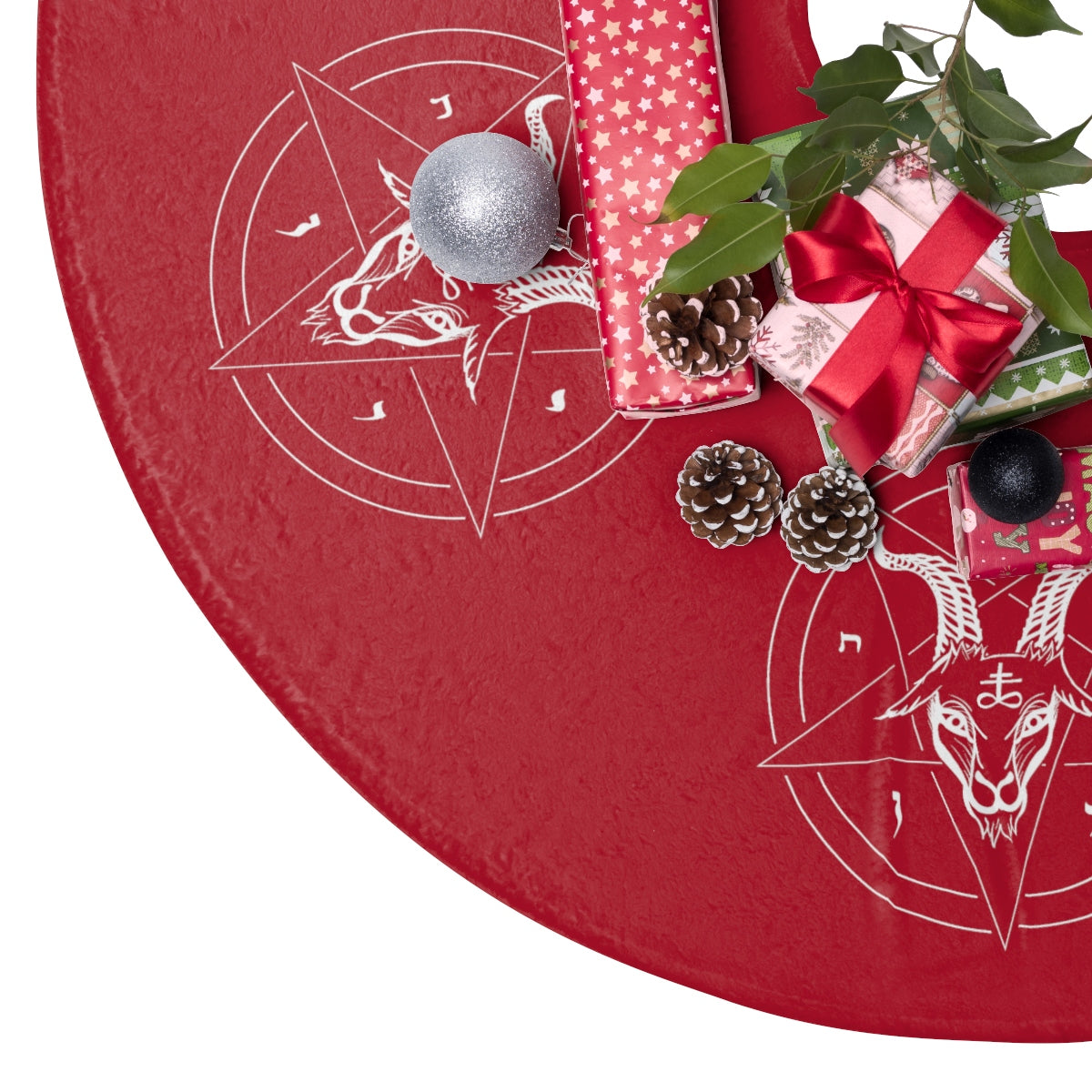 Fuzzy Satanic Baphomet Christmas Tree Skirt - Logikal Threads