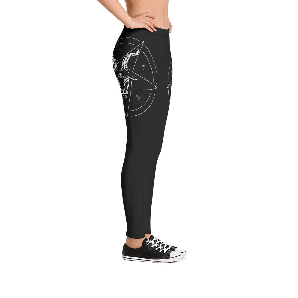 Baphomet Satanic Pentagram Satanist Leggings - Logikal Threads