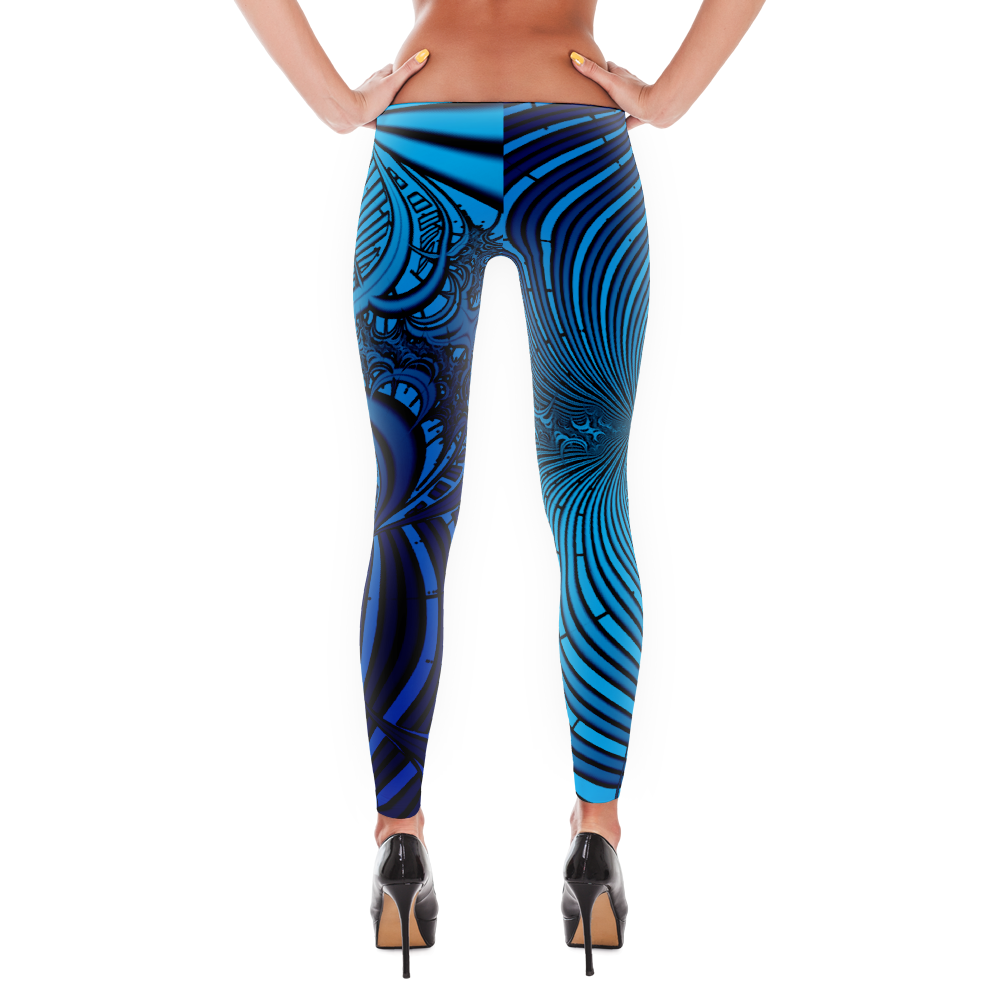 Blue Waves Fractal Leggings - Logikal Threads