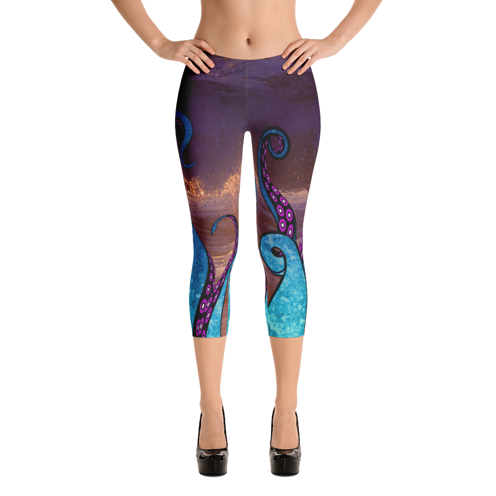 Tentacle Capri Leggings With Ocean Scene - Logikal Threads