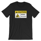 Caution Atheist May Eat Babies - Short Sleeve T-Shirt - Logikal Threads