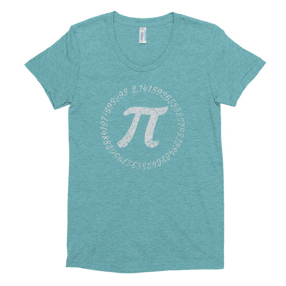 Pi Symbol with circle of numbers on a Women's Crew Neck T-shirt - Logikal Threads