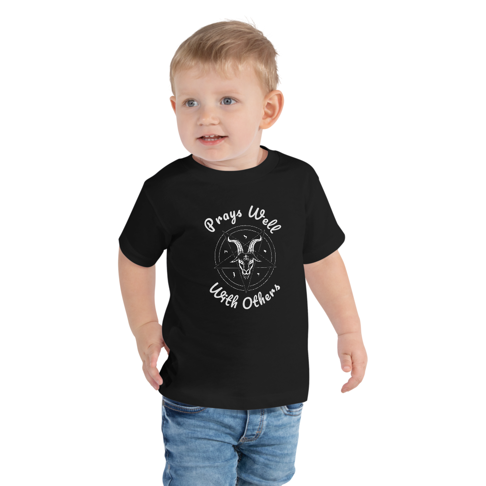 Prays Well With Others Offensive Toddler Short Sleeve T-shirt 2T-5T - Logikal Threads