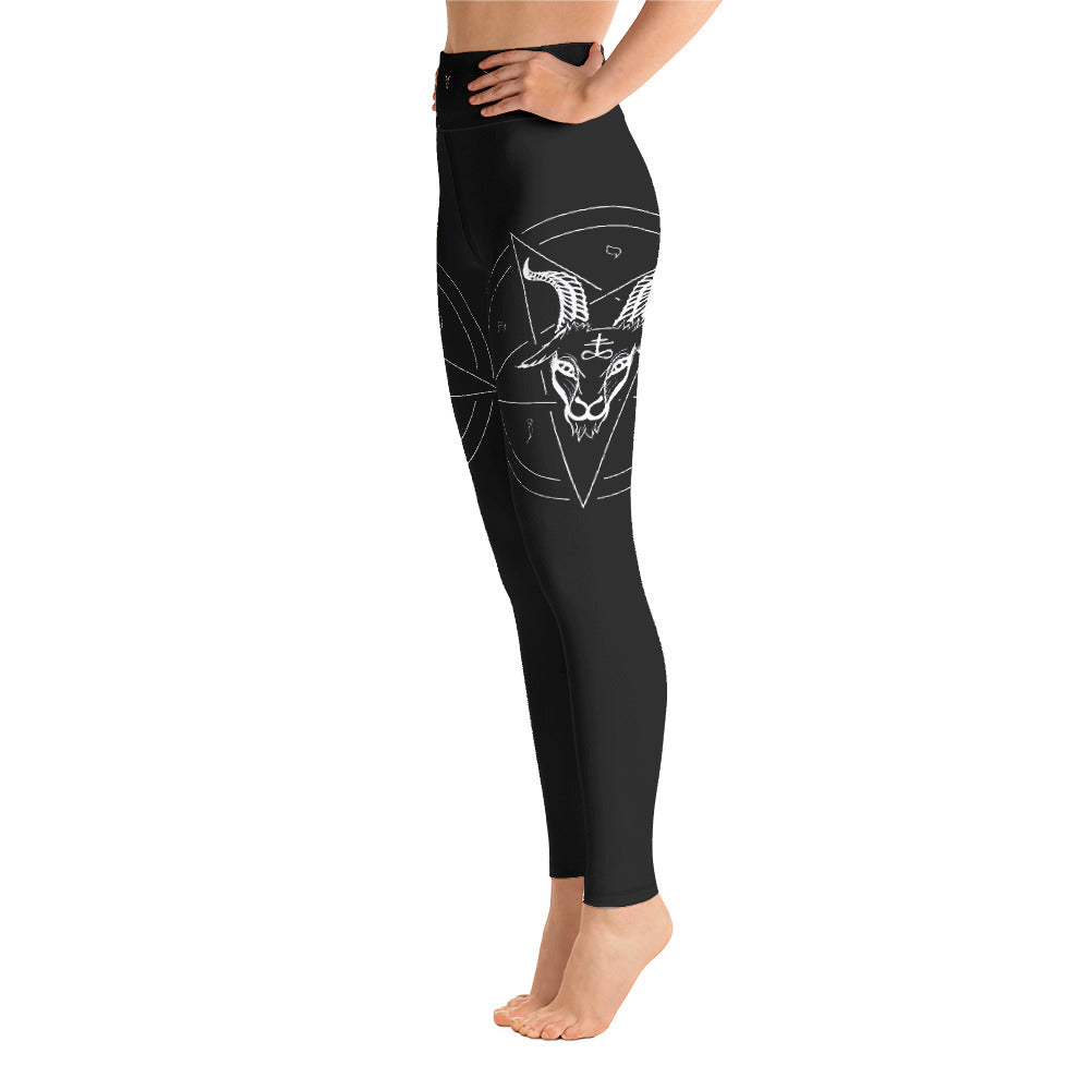 Baphomet Satanic Pentagram Yoga Leggings with sigil of lucifer and baphomet waistband - Logikal Threads