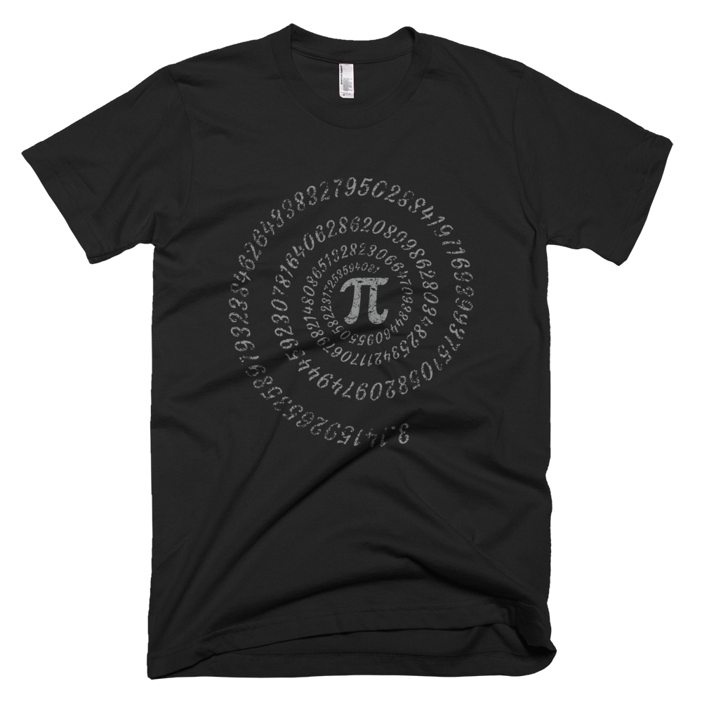 Pi math symbol with spiral numbers T-Shirt - Logikal Threads