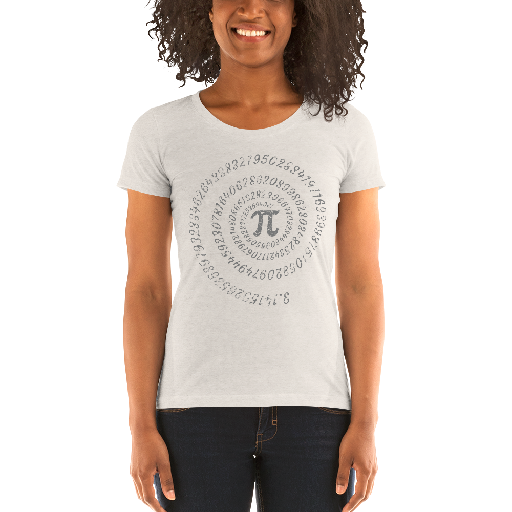 Pi math symbol with spiral numbers on a Ladies' short sleeve t-shirt - Logikal Threads
