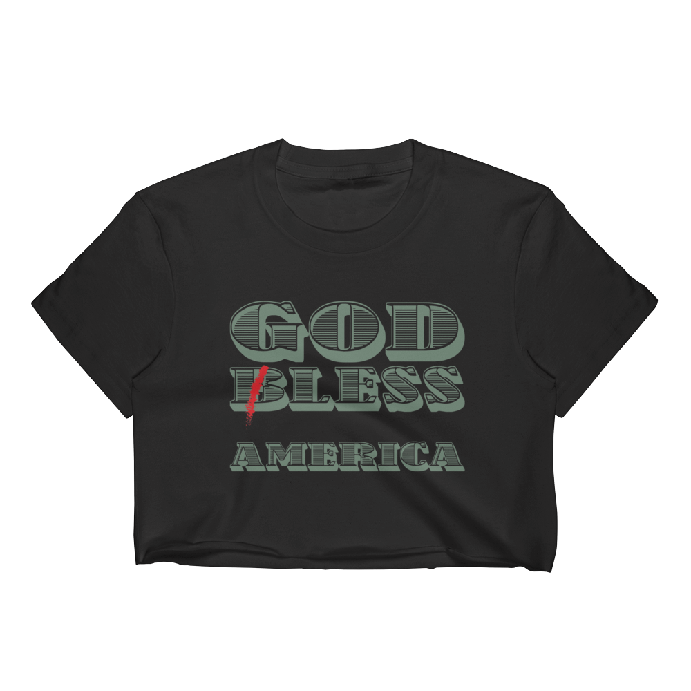 Godless America Atheist Women's Fitted Crop Top T-shirt - Logikal Threads
