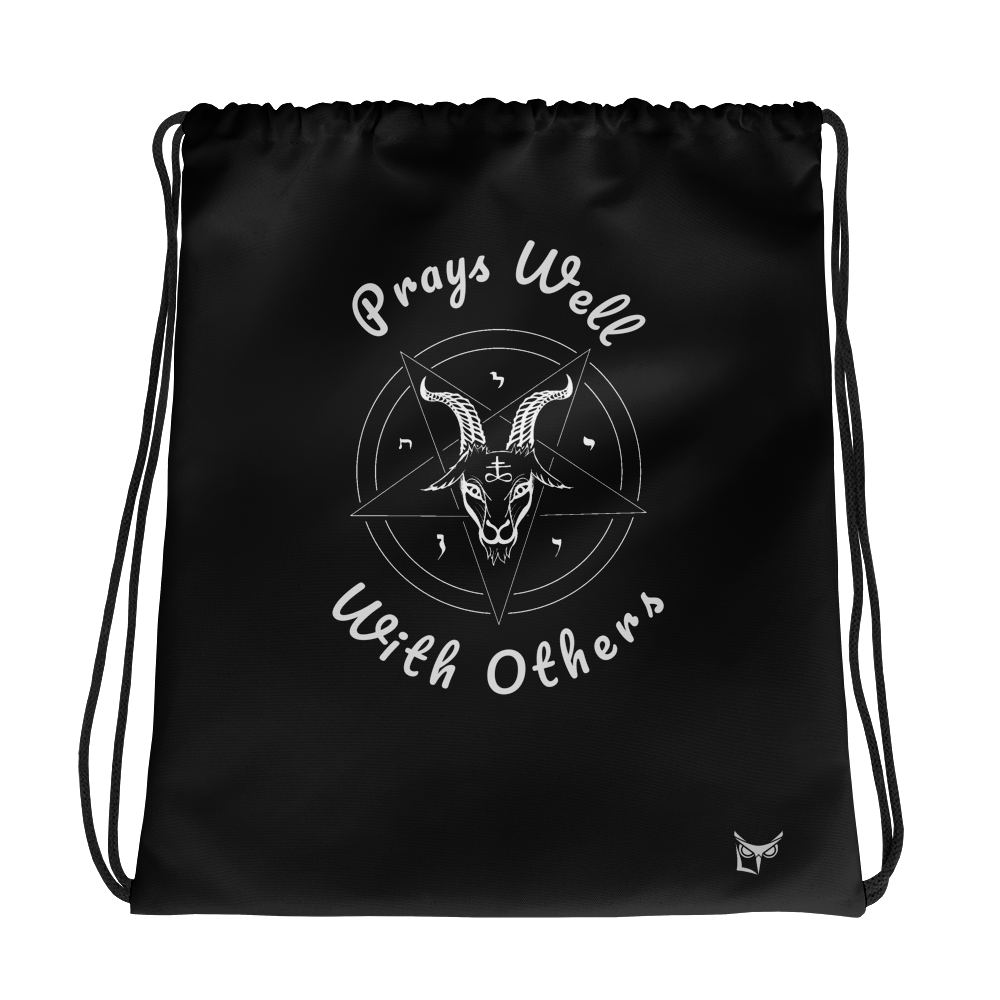 Prays Well With Others Offensive Drawstring bag - Logikal Threads