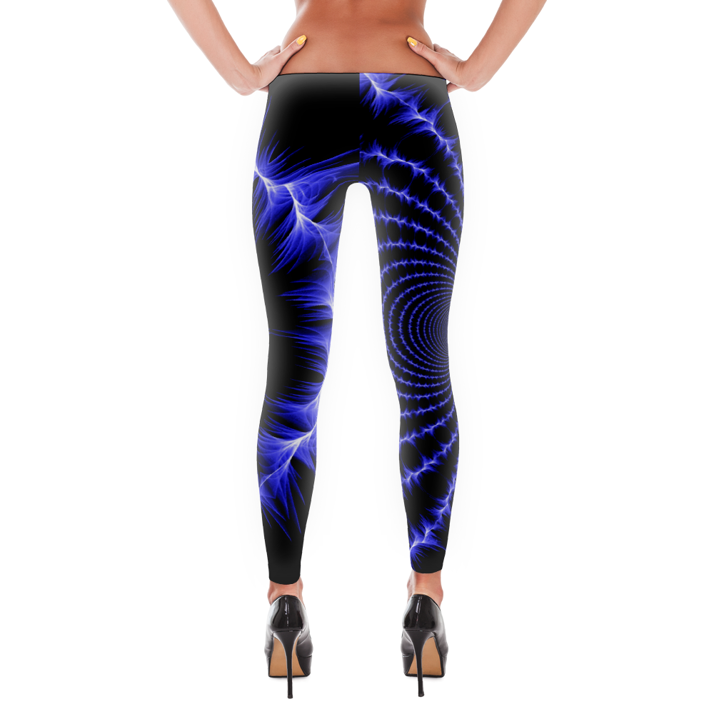 Electric Blue Fractal Leggings - Logikal Threads