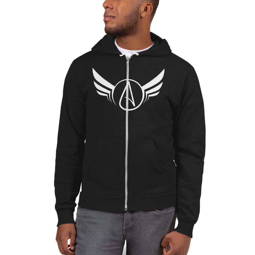 Atheist wings on an American Apparel Fleeced Zip Hoodie - Logikal Threads