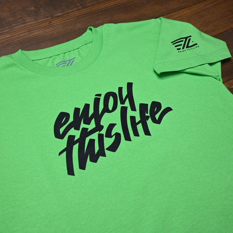 ETL Script Logo Youth Tee - Lime Green
